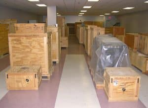 Crates ready to load